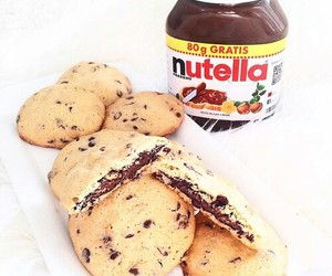 food, nutella, and Cookies image