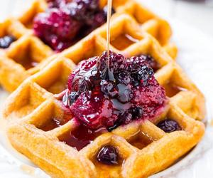 waffles, food, and fruit image