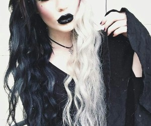 hair, goth, and piercing image