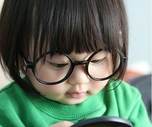 baby, canon, and glasses image