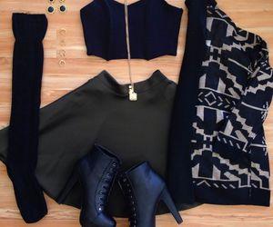 skirt, black, and heels image