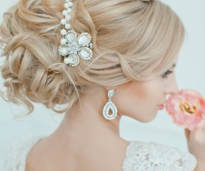 blonde hair, diamonds, and flower image