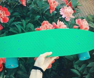 flowers, skateboards, and green image