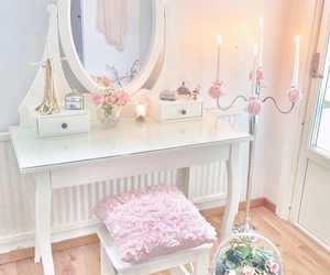 candles, flowers, and pink image
