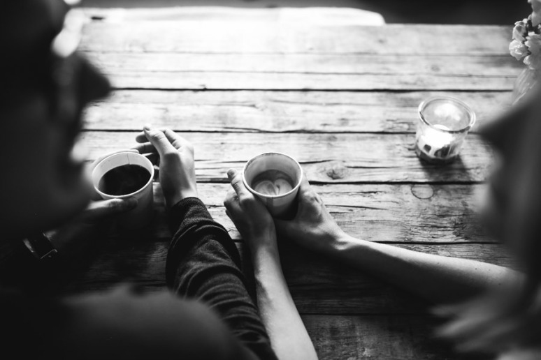 love, coffee, and black and white image