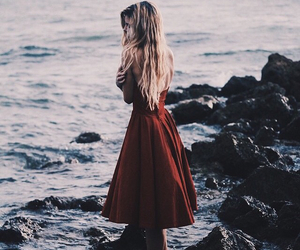 girl, dress, and sea image