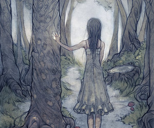 drawing, forest, and girl image
