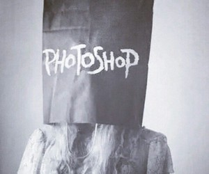 photoshop, girl, and black and white image