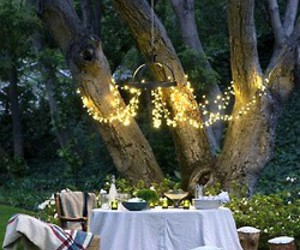 candles, outdoors, and alfresco image