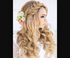 hair, beautiful, and flowers image