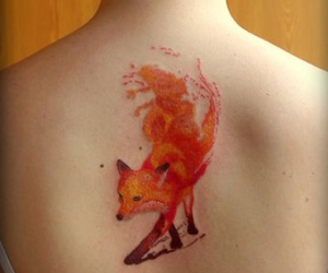 fox, tattoo, and watercolour tattoo image