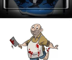 funny, butcher, and blood image