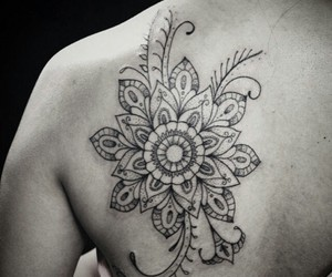 tattoo, flower, and geometric image