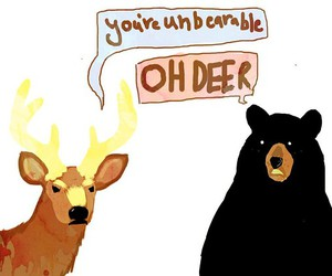 bear, deer, and funny image