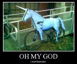 unicorn, bike, and funny image