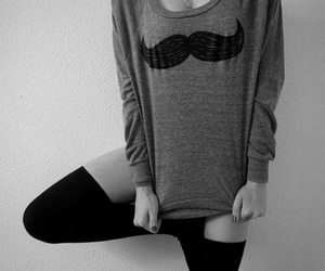 girl, moustache, and mustache image