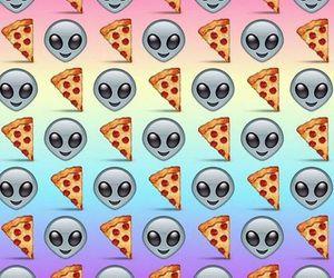 pizza, alien, and wallpaper image