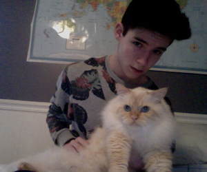 boy, cat, and pale image