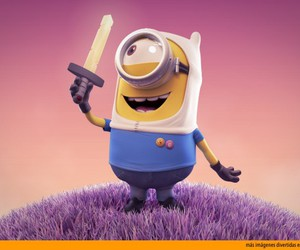 minions, finn, and adventure time image