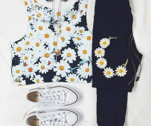 flowers, jeans, and top image
