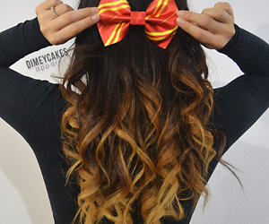 hair, bow, and ombre image