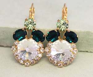 earrings, emerald, and fashion image