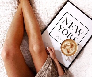 coffee, new york, and legs image