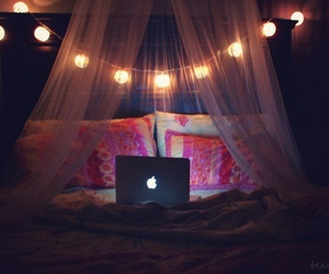 light, bedroom, and bed image