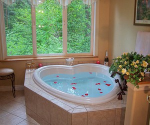 bathroom, heart, and roses image