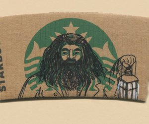 harry potter, starbucks, and hagrid image