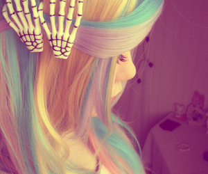 hair, pastel goth, and rainbow image