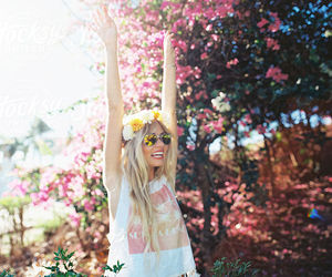 blonde, crazy, and flowers image
