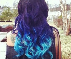 blue, curly, and hair image
