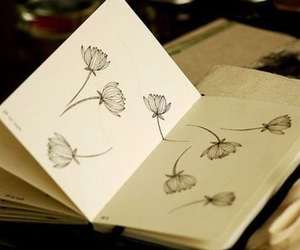 flowers, book, and drawing image