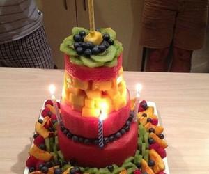 fruit, cake, and birthday image