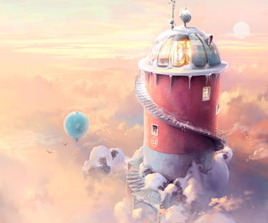 art, balloon, and clouds image