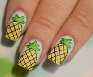nails, pineapple, and fruit image