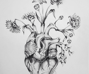 art, flowers, and tatto image