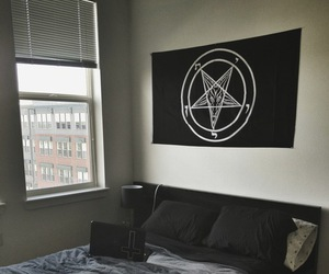 room, black, and bed image