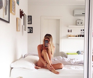 bed, girl, and summer image