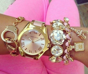 accessorise, gold, and handwatch image