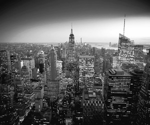 background, black and white, and city image