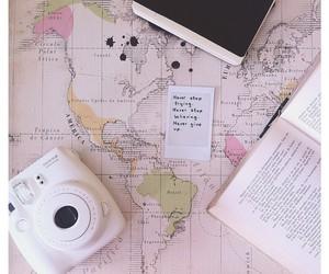 camera, map, and book image