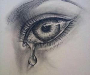 drawing, cry, and eye image