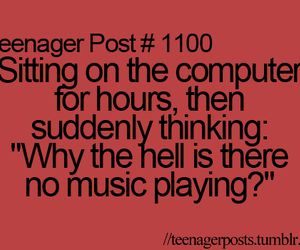 computer, music, and text image