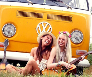 beautiful, friend, and hippies image