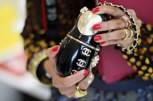 chanel, red nails, and rings image