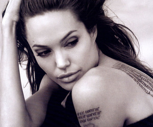 Angelina Jolie, tattoo, and black and white image