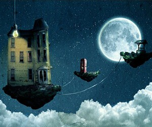 dreaming, floating, and house image