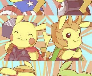 pikachu, crossover, and Avengers image